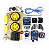 LoveOlvido Kit de Dos Ruedas Smart Car Set Tracking Motor Robot Inteligente Kit de chasis para automóvil Módulo ultrasónico 2WD para Kit Arduino - Multicolor