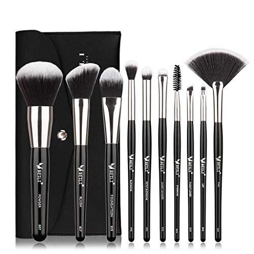 Pinceau de maquillage GCX- Brosse de Maquillage de 10 Jeu Complet d'ombre à paupières Poudre Libre Portable débutant Ultra Doux Brosse beauté Beau
