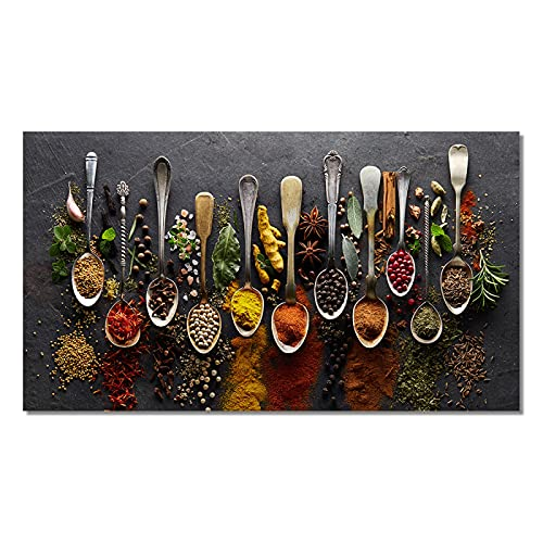 Pintura en lienzo Decoración de cocina Cuchara Pimientos Granos Especias Carteles Impresiones para comedor Imágenes Decoración de arte para el hogar 20x40cm (8x16in) Sin marco