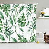 HJKGSX Duschvorhang Textil Wasserdicht Grüne Blätter Duschvorhang Anti-schimmel Waschbar mit 12 Duschvorhang Ring 150 x 180 cm