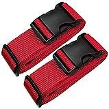 [2 Pack] Koffergurt - Verstellbare Kofferband Rot - Gepäckgurt 5 * 180 cm - Zum sicheren Versließen der Koffers auf Reisen - Inklusive 3 Jahren Geld-zurück-Garantie (Red)