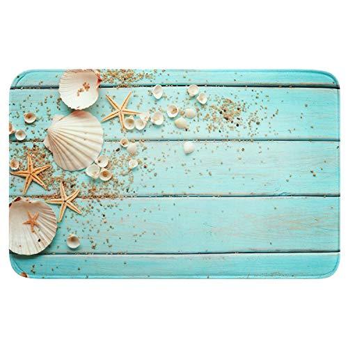 Uphome Foam Bathroom Rugs Beach Shell Sea Collection Non-Slip Bath Mat Soft Absorbent Vintage Boho Teal Bath Rug Shower Floor Carpet (20 x 31 inch)