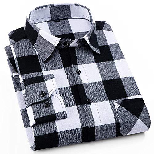 Noubrand, camicie da uomo in flanella di cotone spazzolato, a quadretti, a maniche lunghe, stile casual Dtf16. XL