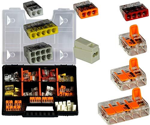 WAGO Sortiment Set NR 2 Variobox Wagoklemmen Box Hebelklemmen 2273-202 -208 | 224-112 | 221-412 | 221-413 |221-415 | 120 Stück incl. Sortimentbox