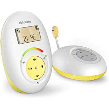 HelloBaby HB180 Two-Way Audio Baby Monitor with Temperature Sensor, Sound Alert, Lullabies & Night Light, Long Range Transmission, Two-Way Talk Back Feature