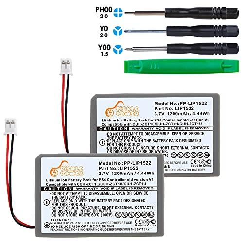 Pickle Power Batteria di ricambio per controller Sony Playstation 4 PS4 V1 (interfaccia 4,5 mm), 1200 mAh, LIP1522, compatibile con CUH-ZCT1E CUH-ZCT1H CUH-ZCT1U con set di attrezzi