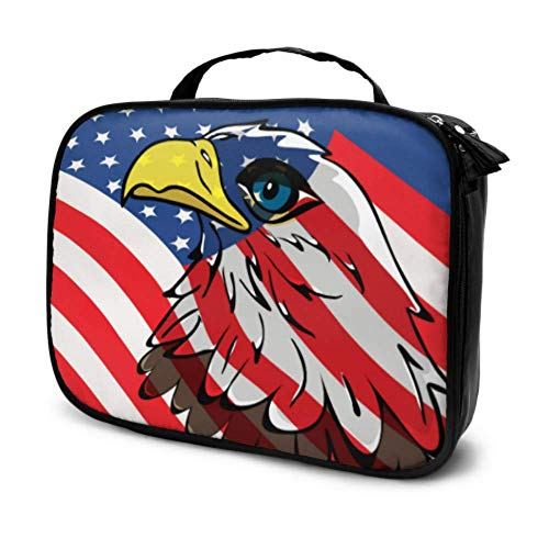 Eagle Over United States Flag Vector Travel Mens Toiletry Bag Womens Toiletries Bag Womens Makeup Case Multifunction Printed Pouch for Women