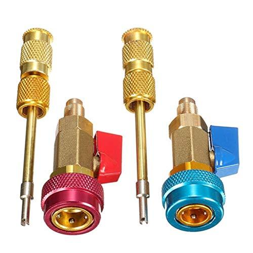 Auto A/C Zubehör Ventileinsatz Kit Schraderventil Set universell einsetzbares Klimaanlagen Sortiment mit Ventileinsatz Entferner (Rot&Blau)