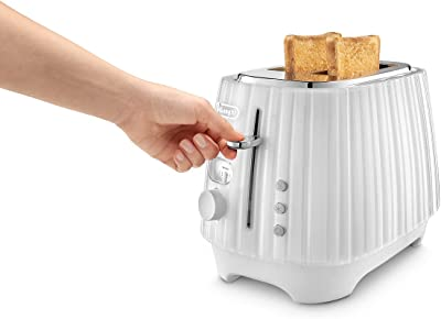 De'Longhi Ballerina Toaster, 2 Slot Toaster, Reheat, 5 Browning Settings, Defrost and Cancel Functions, Removable Crumb Tray, CTD2003WH, 900W, White