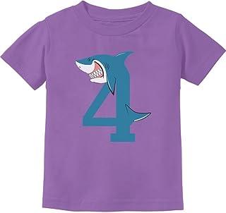 Tstars - 4th Birthday Shark Party Gift for 4 Year Old Toddler Kids T-Shirt