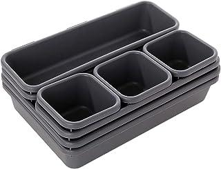 Organiseur de tiroir de bureau, 8 pièces en plastique séparateurs de tiroir séparateurs de tiroirs avec 3 tailles de bacs ...