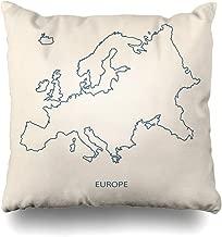 NOWCustom Throw Pillow Cover Ireland Line Europe Map Outline Country Belgium Finland Iceland Atlas Design Bulgaria Zippered Pillowcase Square Size 20 x 20 Inches Home Decor Pillow Case