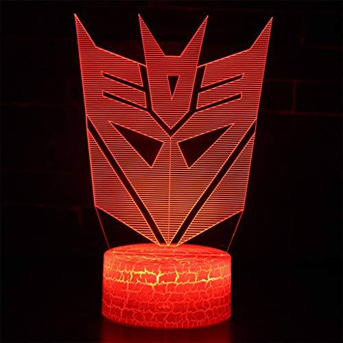 Transformers LED Visual Slide/Veilleuse 3D, 7 variations de couleurs, Cadeaux pour enfants, Toucher/Télécommande, Base de fissure, Chambre à coucher, Décoration de bar