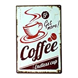 Ryantey Metal Tin Sign Retro Vintage Get More Coffee Aluminum Sign for Home and Bar Wall Decor 8x12 Inch (Get More Coffee)