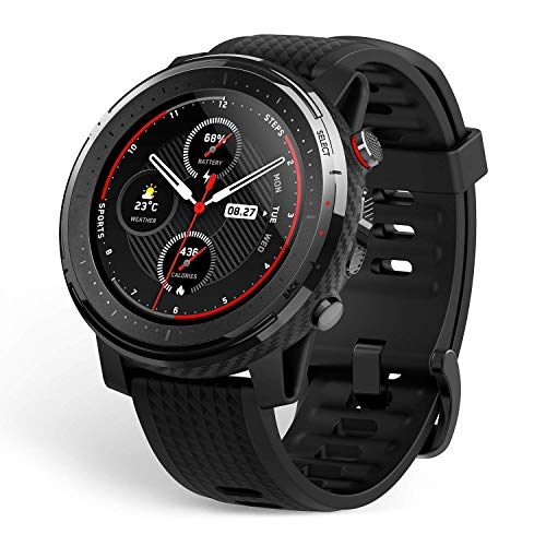 "Amazfit Stratos 3 Sports Smartwatch Powered by FirstBeat, 1.34"" Full Round Display, 80-Sports Modes, Standalone Music Playback, GPS, Bluetooth, Water Resistant, Black"