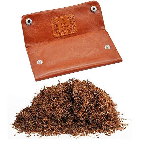 Gurxi Compartimento de Piel de Tabaco Bolsa de Cuero Genuino Tabaco Bolsa de Tabaco Hombre Vintage Hombre Bolsa de Tabaco Cierre para Fumador Mantenga Hojas de Tabaco (Marrón Claro)