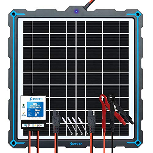 SUNAPEX-Upgraded-20W-Solar-Panel-Battery-Charger-Maintainer, External Smart 3-Stages PWM Charge Controller, 12V Solar Trickle Charging Kit for Car, Marine, Motorcycle, RV, etc