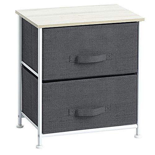 Meuble de chevet table de nuit 2 tiroirs - Design et Pratique - Coloris Chiné GRIS Foncé