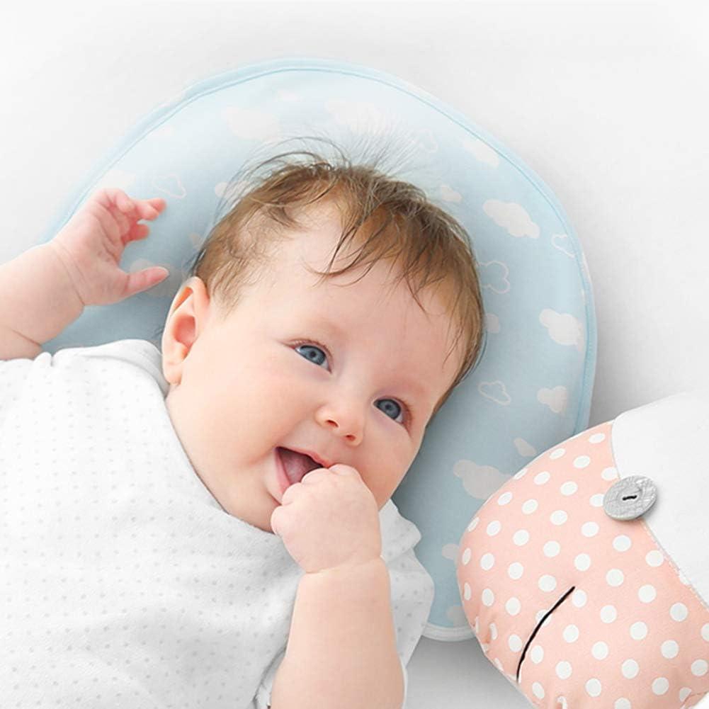 JUNBABY Oreiller de Soutien de tête de bébé Multi-directionnel Cou de Soutien Protection Fermeture à glissière Invisible Rebond zéro Pression-Blue Pink