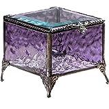 Purple Glass Jewelry Box Decorative Keepsake Storage Organizer Trinket Case Gift for Her J...