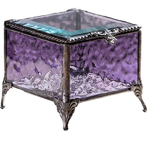 Purple Glass Jewelry Box Decorative Keepsake Storage Organizer Trinket Case Gift for Her J Devlin Box 836