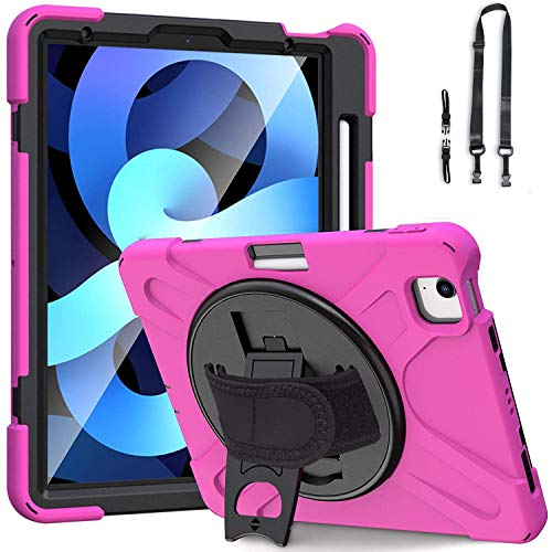 iPad Air 4 10.9 inch 2020 Case with Pencil Holder,360 Degree Rotatable with Kickstand,Hand Strap and Shoulder Strap case,Hybrid Heavy Duty Shockproof case (Rose Red)