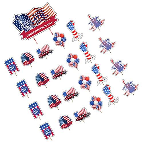 VALICLUD 25 Piezas Día de La Independencia Cupcake Toppers Papel Bandera Americana Pastel Toppers Pastel Postre Fruta Selecciones 4 de Julio Pastel Decoración Patriótico Partido