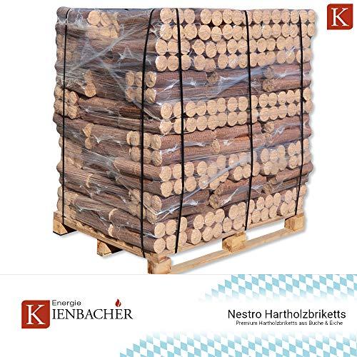 1040 kg Holzbriketts Nestro Hartholz Briketts Kamin Ofen Brikett Brennholz Heizbrikett aus Buche & Eiche 104 x 10kg / 1040kg Palette Nestro Brikett Rund