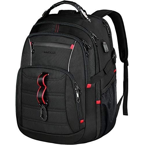 KROSER Reise Laptop Rucksack 17,3 Zoll XL Großer Computer Rucksack Stylischer College Rucksack mit RFID-Taschen Wasserdichter Tagesrucksack für Schule/Business/Männer/Frauen-Schwarz MEHRWEG