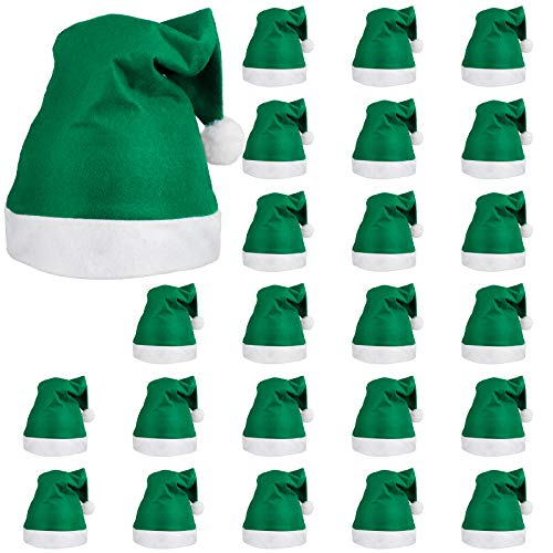 ELCOHO 24 Pack Santa Green Hat Short Plush with White Cuffs Non-Woven Fabric Christmas Hat Santa Hat for Adults