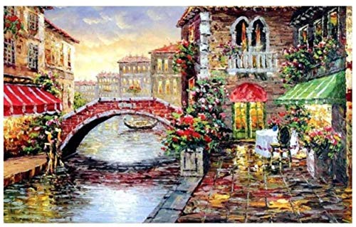 Wooden Puzzles 1000 Pieces Jigsaw Puzzles 3D Wooden Puzzles for Adults,Small Town Bridge,Wooden Assembling Decoration for The Home