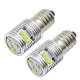 Ruiandsion 2 bombillas LED E10 de 4,5 V 1 W de repuesto para faros delanteros, linternas, kit de conversión de bombillas LED, tierra negativa