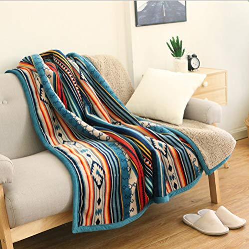 Ukeler Flannel Sherpa Throw 50#039#039 x 60#039#039 Bohemian Soft Plush Flannel Blanket Throws for Bed/Couch/Sofa/Office/Camping