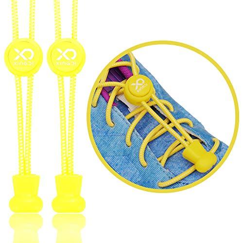 Xingdi - 2X 120 cm - (EIN Paar) - Gelb - Elastische Schnürsenkel geeignet für Sport und Freizeitschuhe - Schnellverschluss für den idealen Halt der Schuhe