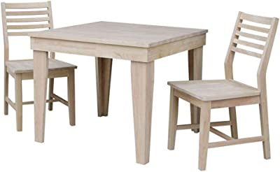 International Concepts Aspen Solid Wood Top Table - Standard Dining Height - With 2 Chairs, Unfinished