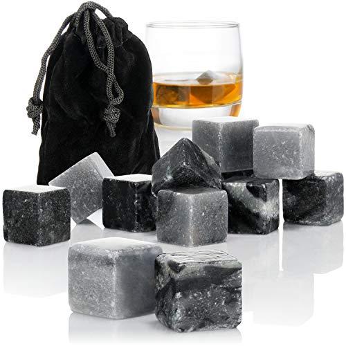 com-four® 12x Whisky Steine in Marmoroptik - Kühlsteine für Whiskey mit Aufbewahrungsbeutel aus Stoff - kein Verwässern mehr (Marmoroptik grau V2-12 Stück)