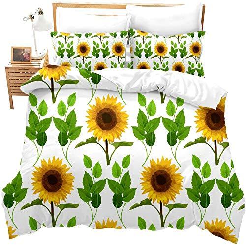 zzkds Sunflower3D Impreso Nature Bedding Set Imprimir botánicas Novedad Funda de edredón