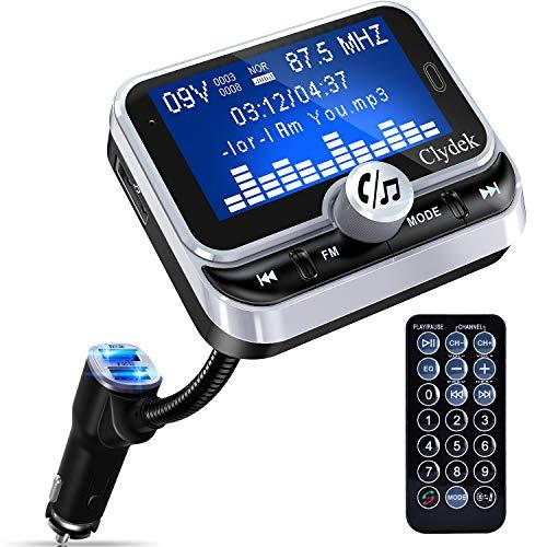 Transmisor FM Bluetooth Automóvil, Clydek Adaptador de Cargador con Pantalla de 1.8  y Control Remoto, 4 Modos de Reproducción de Música, Cargador Rápido QC3.0, Manos Libres, Entrada y Salida AUX