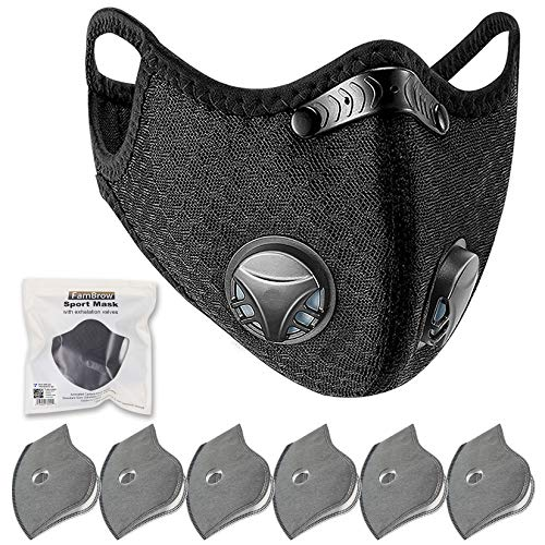FamBrow Dust Mask with Filters, Washable Sports Face Mask with Breathing Valve & 6 Filters for Adults Running, Cycling, Allergy, Woodworking, Mowing, Outdoor Activities (Black)