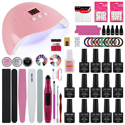 Poly Gel Nail Kit,12 Colors Nail Starter Kit,Gel Nail Polish Set 48W Nail Lamp Dryer With Nail Drill Set