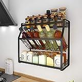 AWSD Portaspezie, Contenitore per spezie a 3 Piani, ripiano per Bottiglie a Parete, lattine, rastrelliera portaoggetti per Cucina, Bagno (35cm)