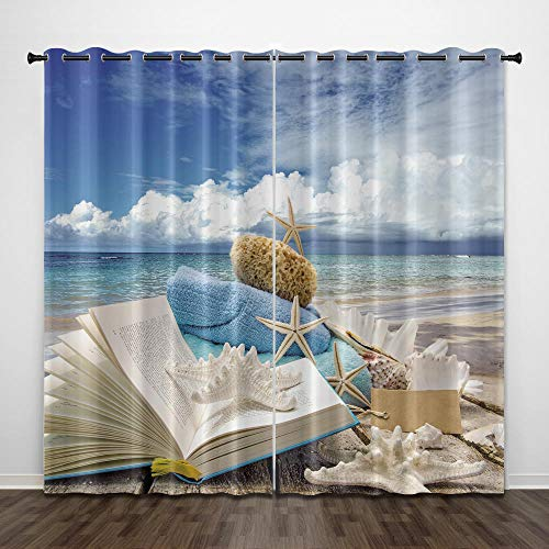 NSWSYDM Verdunkelungsvorhang 3D Print Ocean Starfish Book Wrmeisolierte Geräuschreduzierung Ösen Gardinen Kinderzimmer Wohnzimmer Schlafzimmer Vorhang Deko 2 Paneele 280x250 cm