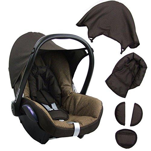 BAMBINIWELT Ersatzbezug für Maxi-Cosi CabrioFix 6 tlg. BRAUN/DUNKELBRAUN, Bezug für Babyschale, Komplett-Set XX