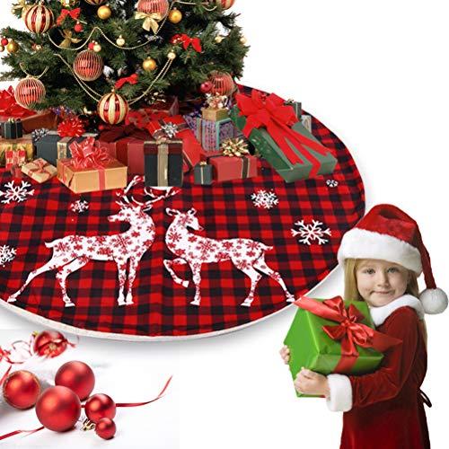 taianle Weihnachtsbaum Rock - Weihnachtsbaum Rock Teppich Plaid Elch Drucken Weihnachtsbaum Rock, für Weihnachten Weihnachtsfeier liefert große Baummatte Dekor Ornamente für einen Mini Tree Top Tisch