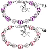 2 Pieces Girls Horse Beaded Bracelet Crystal Charm Bracelet Handmade Bracelet Bangle with Gift Box