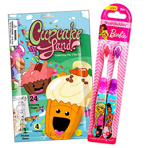 Toothbrush Travel Activity Set for Girls Bundled Includes Cupcake Land Fun Reward Pack with Crayons, Stickers, and Mini Coloring Book for Kids (Barbie 2 Pack)
