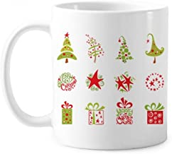 Merry Christmas Tree Red Illustration Classic Mug White Pottery Ceramic Cup Gift With Handles 350 ml