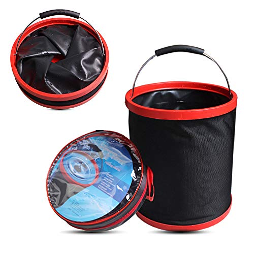 Cubo de Lavado de Autos Cubo Plegable Plegable 12L 3.17gal Camping Pesca Resistente con Bolsa de Almacenamiento para Interior al Aire Libre