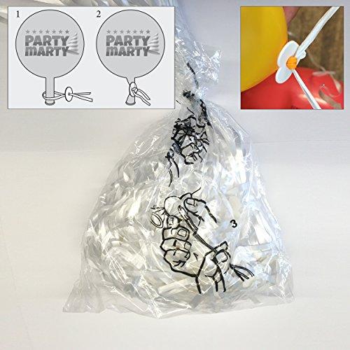 100 Ballonverschlüsse mit Polyband - ohne Knoten Luftballons einfach & schnell verschließen - für Heliumbefüllung geeignet