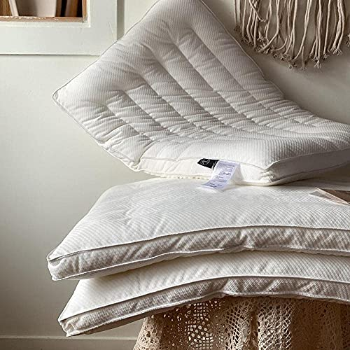 DNGDD 100% Tela de algodón Anti y Anti-alergia, Almohada Suave de Calidad de Hotel para el estómago Trasero y los Que Duermen de Lado -Blanco_48 * 74